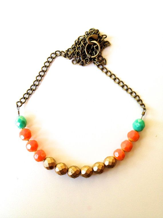 Cute Colorblock fall Czech Glass bead Necklace. Fun by TheArtwerks, $29.99