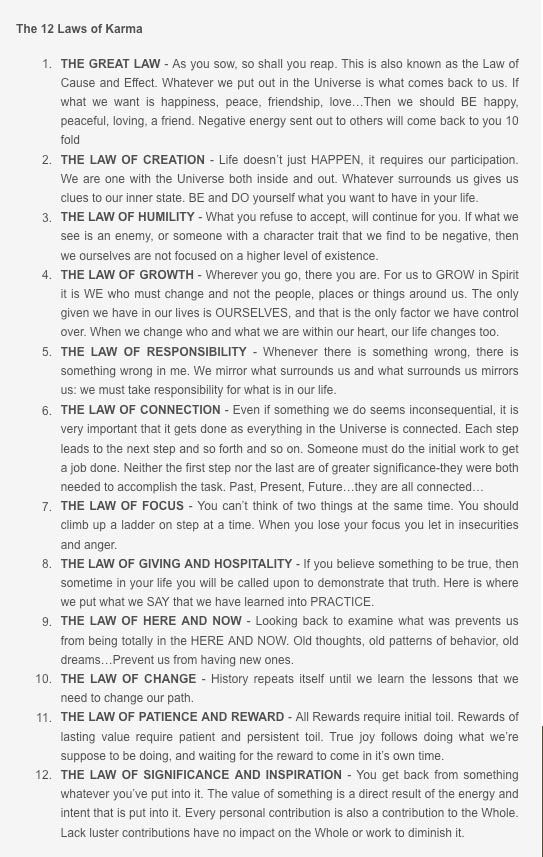 Merveilleux The 12 Laws Of Karma. Something To Live By.