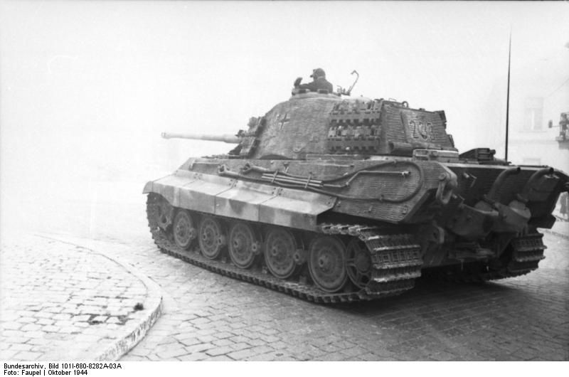 s.Pz.Abt. 503, Tiger II 233 sits near St. Georges Square, Budapest, Hungary, 15 or 16 October 1944.