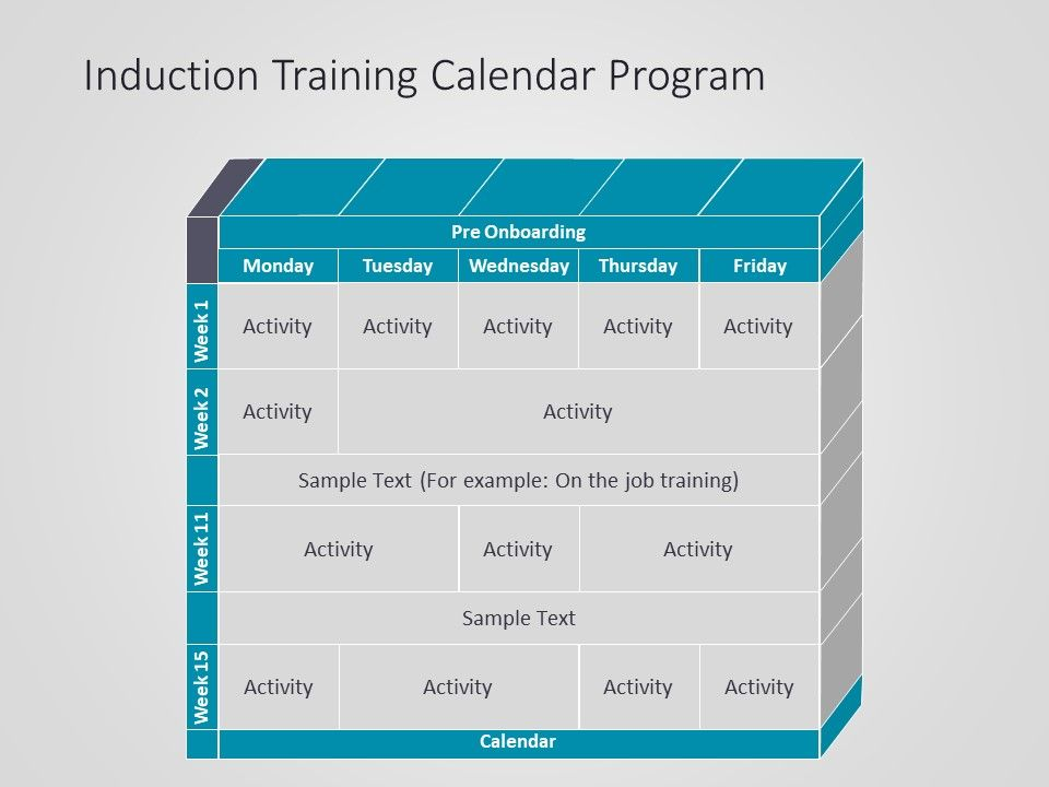 Induction Training Calendar Powerpoint Template Induction