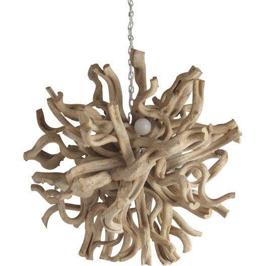 Suspension bois flott rivoli bois blanchi 4x40 watts diam 70 cm lampes - Lustre en bois flotte ...