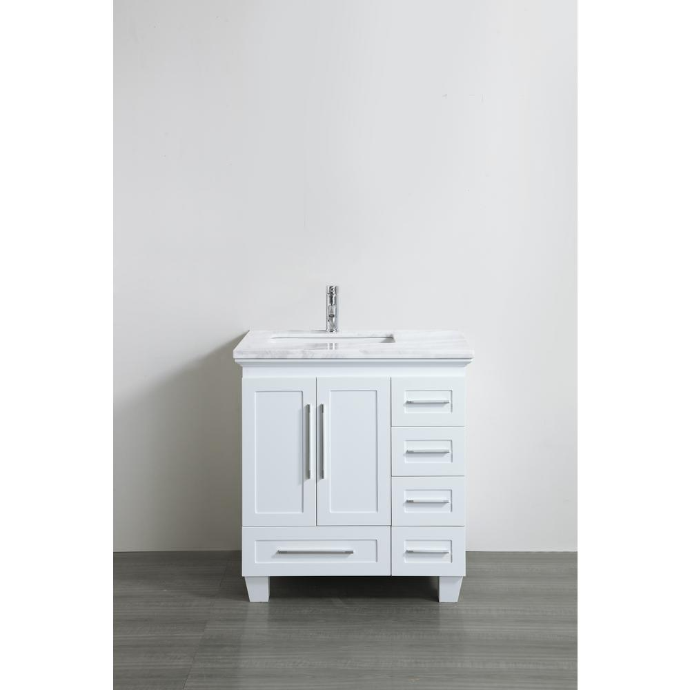 Eviva Loon 30 50 In W X 22 In D X 34 In H Vanity In White With Carrera Marble Vanity Top In White With White Basin Evvn999 30wh The Home Depot Single [ 1000 x 1000 Pixel ]