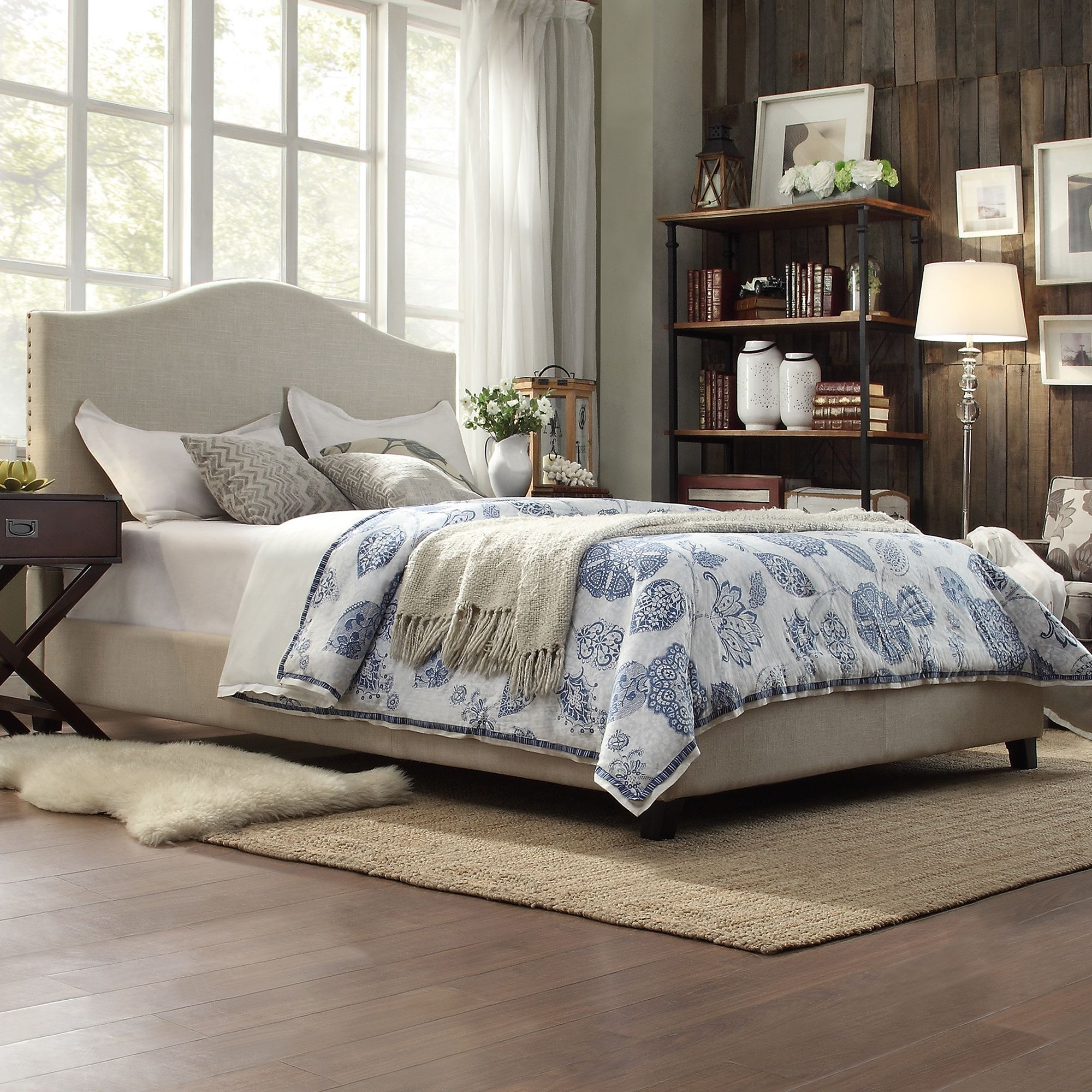 Escape everyday stress and instantly transform your bedroom into a  comfortable sanctuary. Nailheads trim the outer edges of the cushioned  headboard ...
