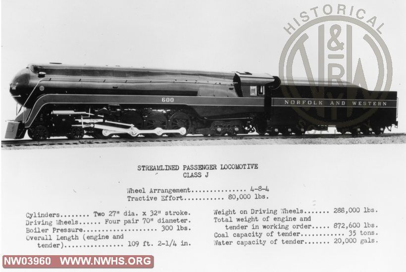 """Class """" J"""" #600,Left Side View,B&W,@ Roanoke,VA (Publicity Photo w/Specs. Shown)"""