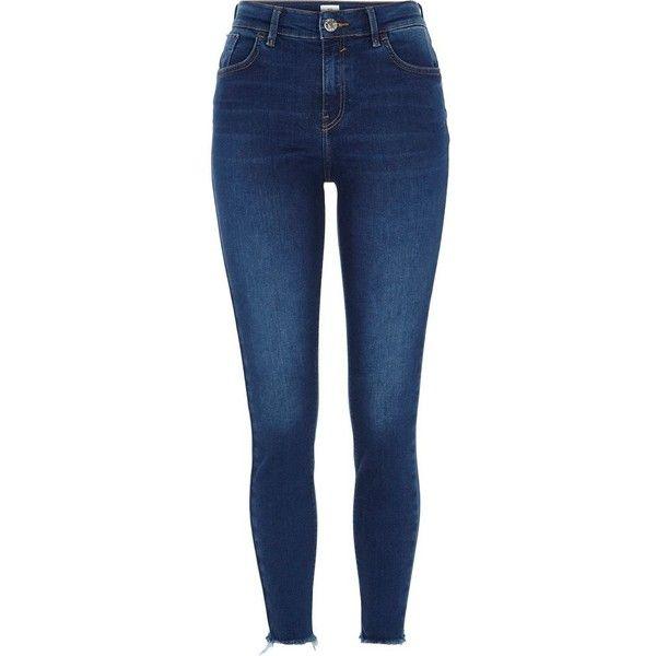 e2fa6b43e90 River Island Dark blue Amelie rip hem super skinny jeans ( 80) ❤ liked on  Polyvore featuring jeans
