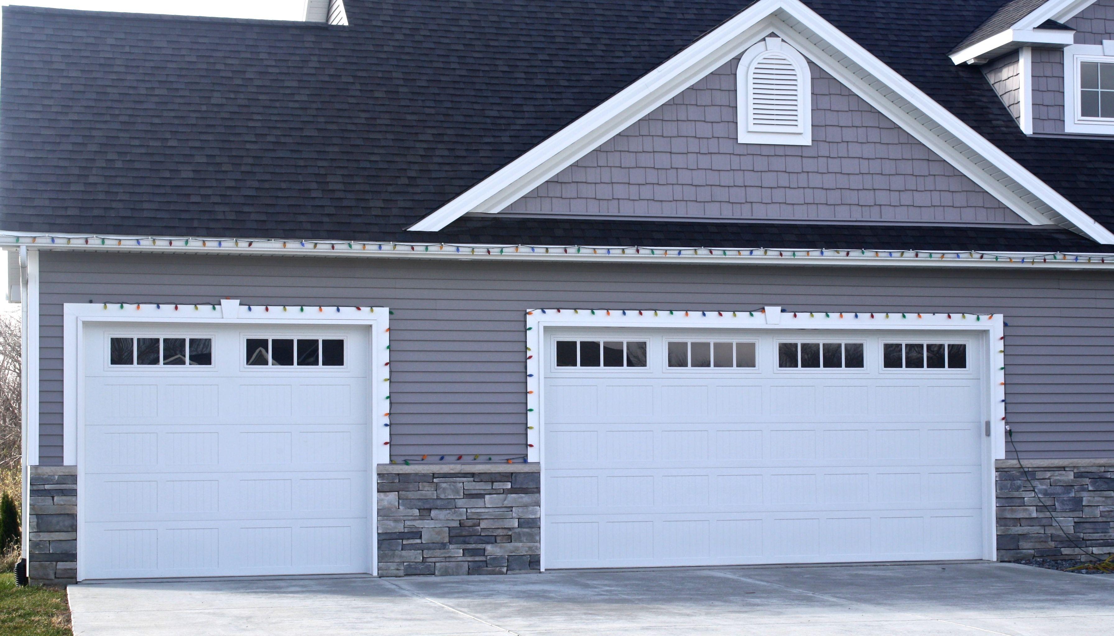 Image Result For White Garage Stone Siding Garage Doors Garage Door Panel Replacement Garage Door Windows