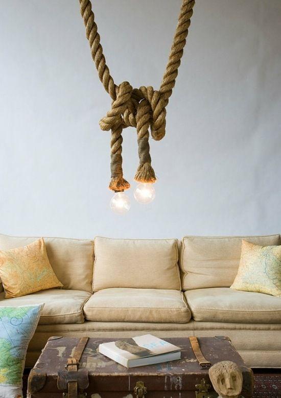 seile seeknoten beleuchtung wohnzimmer selber machen. Black Bedroom Furniture Sets. Home Design Ideas