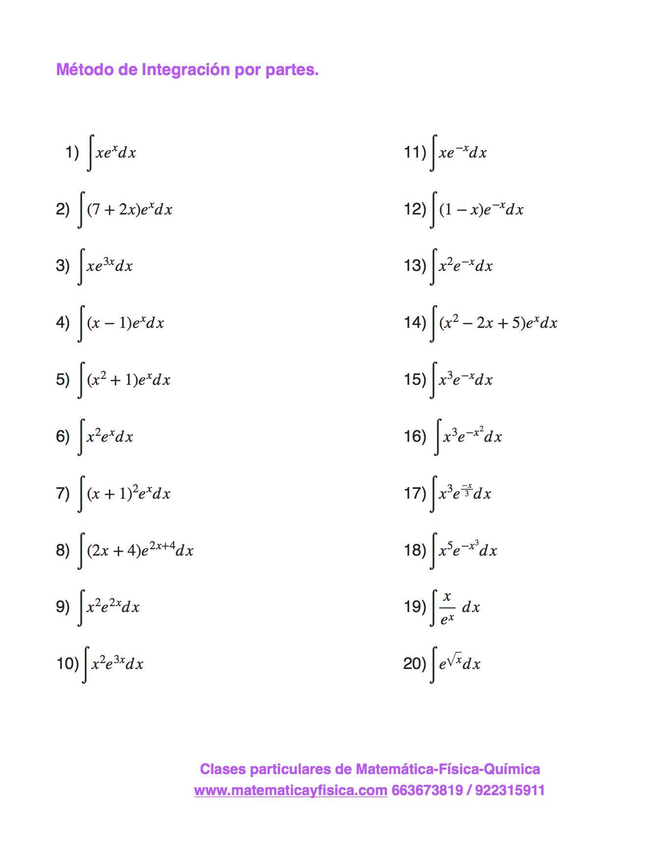 Método de integración por partes. Con exponencial.   Ejercicios de ...