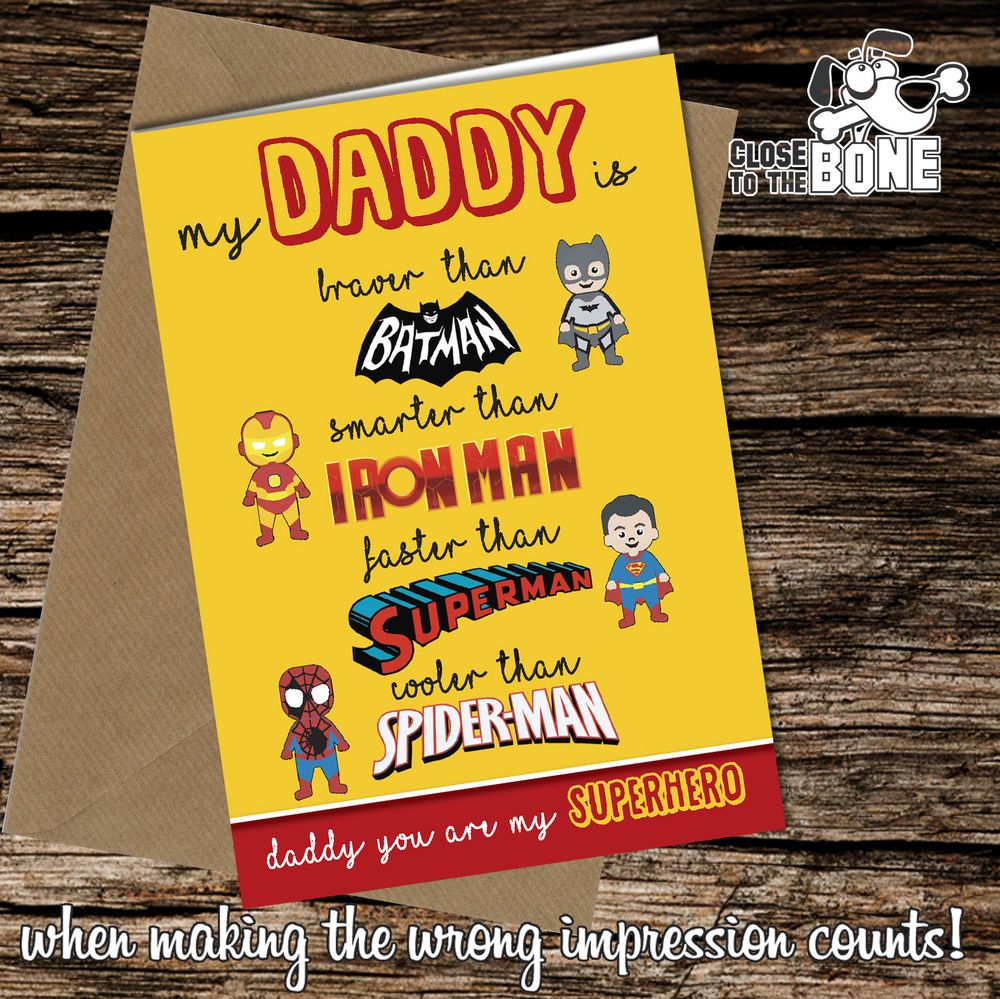 Greetings Card Superhero Comedy Funny Humour Fathers Day or Birthday Daddy #189 for sale online | eBay