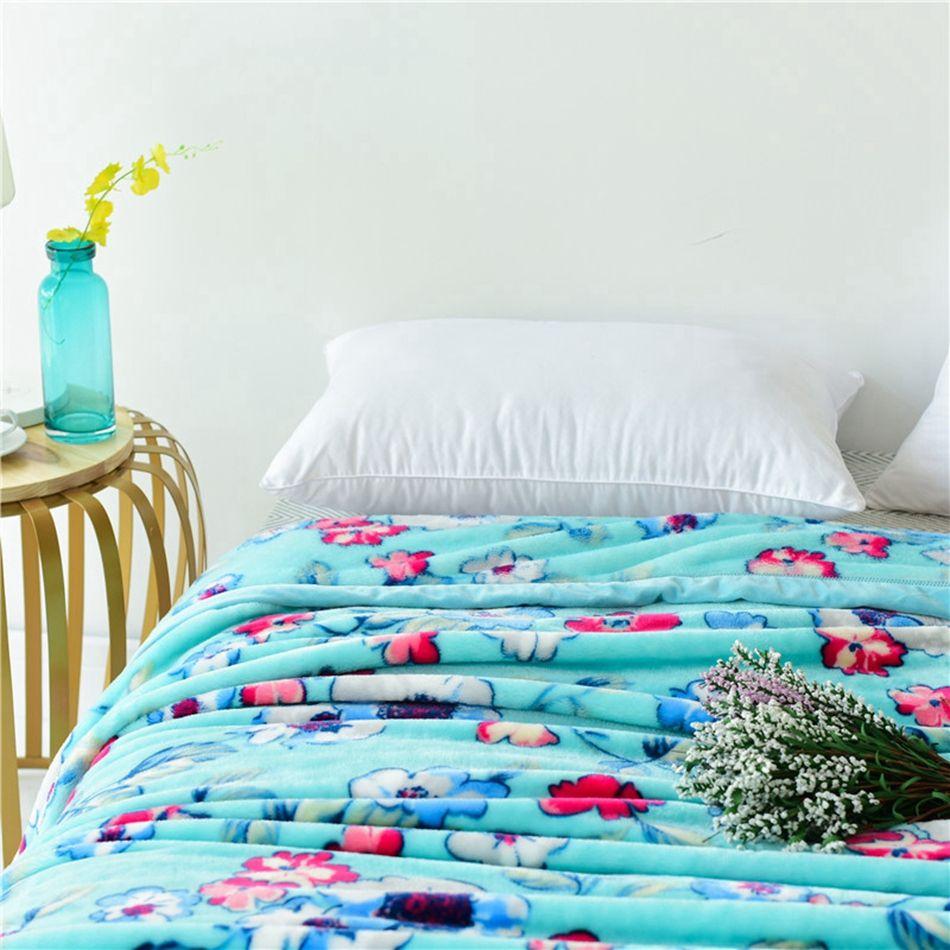 Usdflowers blanket blue soft warm fleece flannel blanket home