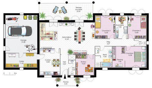 plan maison basse moderne