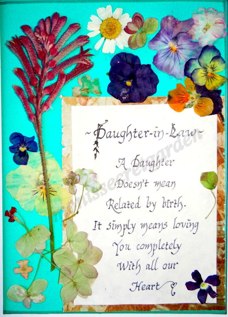 Daughter in lawpressed flowers and calligraphy artNew