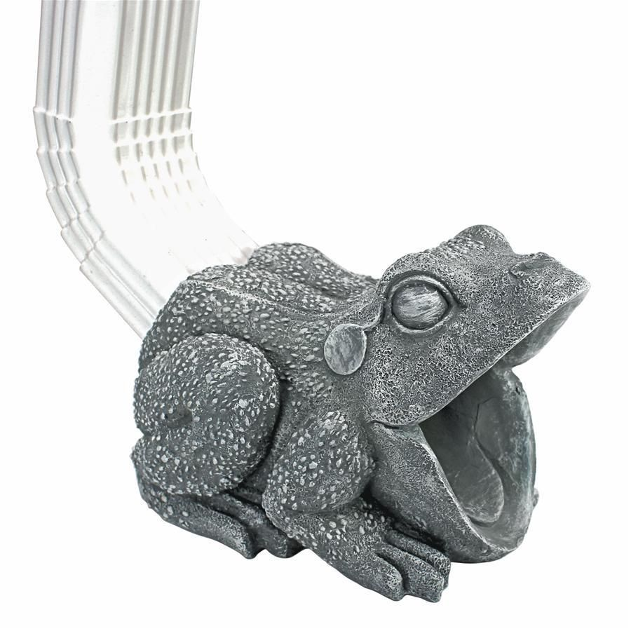 With wide-open mouth to steer water from your downspouts onto your lawn (and keep it from damaging your foundation), our frog gutter sculpture splashes happily as one of the most #HomeDecorative works of architectural art we've seen! Cast in quality designer resin to capture playful sculptural detail, from scaly skin to wide eyes, this Design Toscano exclusive Frog statue is as fun as it is functional. (Fits standard rectangular downspouts up to 2u00bd