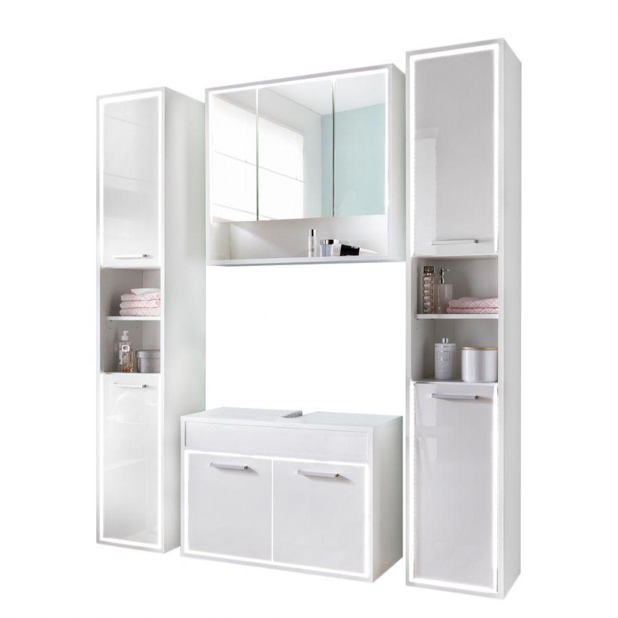 Badezimmerset Cupak (4teilig) Hochglanz Weiß Zimmer