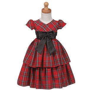 lito girls red plaid layered christmas dress little girls 10 - Plaid Christmas Dress