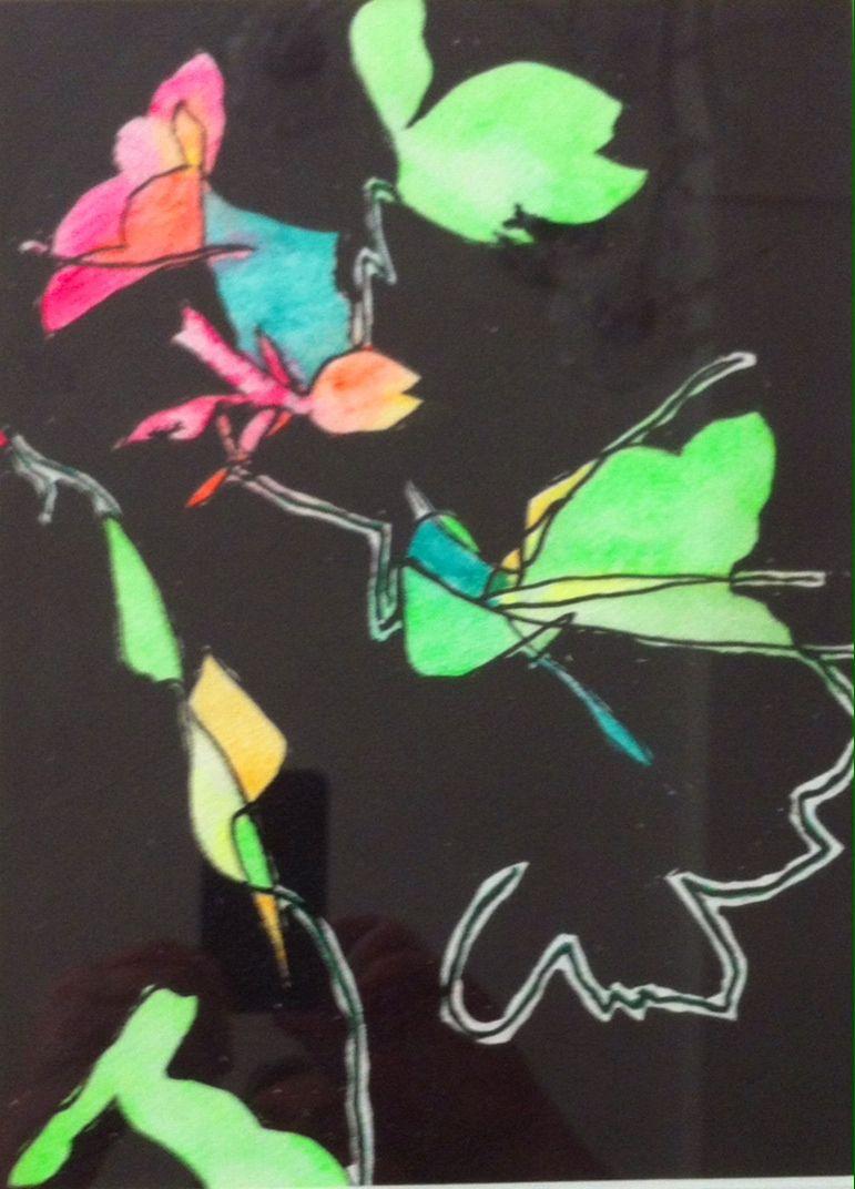 Tusch og akvarel på papir 21x29 cm.