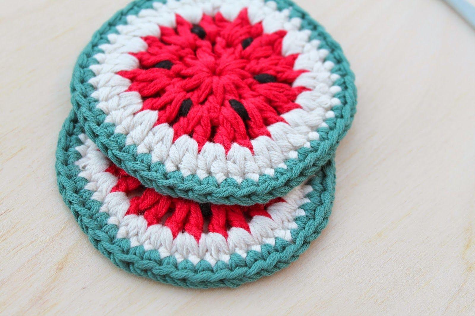 matemo: Mis DIY favoritos / My favorite DIYs # 15 - Crochet Watermelon Coasters
