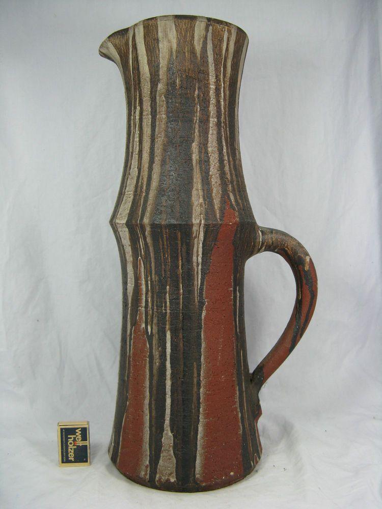 Rare XXL Gerhard Liebenthron Keramik art pottery jug vase / Krugvase Gl Vase Images on