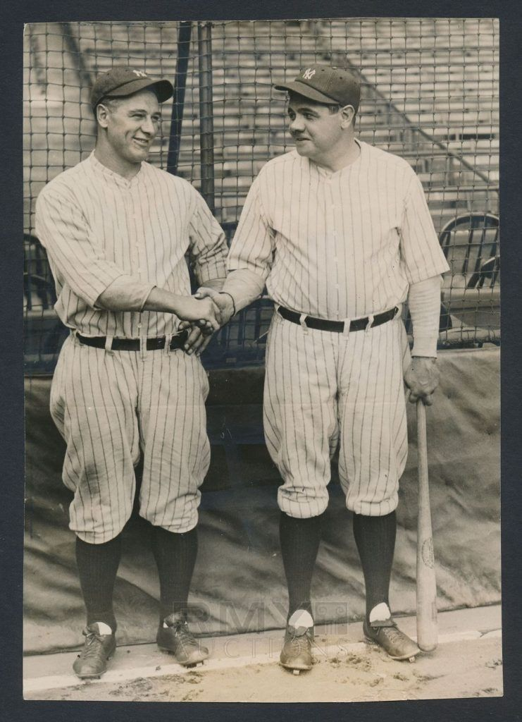 """Batting leadoff in the auction is a rare image of Babe Ruth and Lou Gehrig posing for photographers as they shake hands in late September of 1927 as the """"Murderer's Row"""" Yankees prepared to meet the Pittsburgh Pirates in the World Series.  The 6 x 8 ¾"""" image originated from a well-known photo shoot that resulted in some better known photographs but it's the only one of this exact pose ever to come into the market.  The photo is a silver gelatin double weight image that shows the Yankees' two…"""