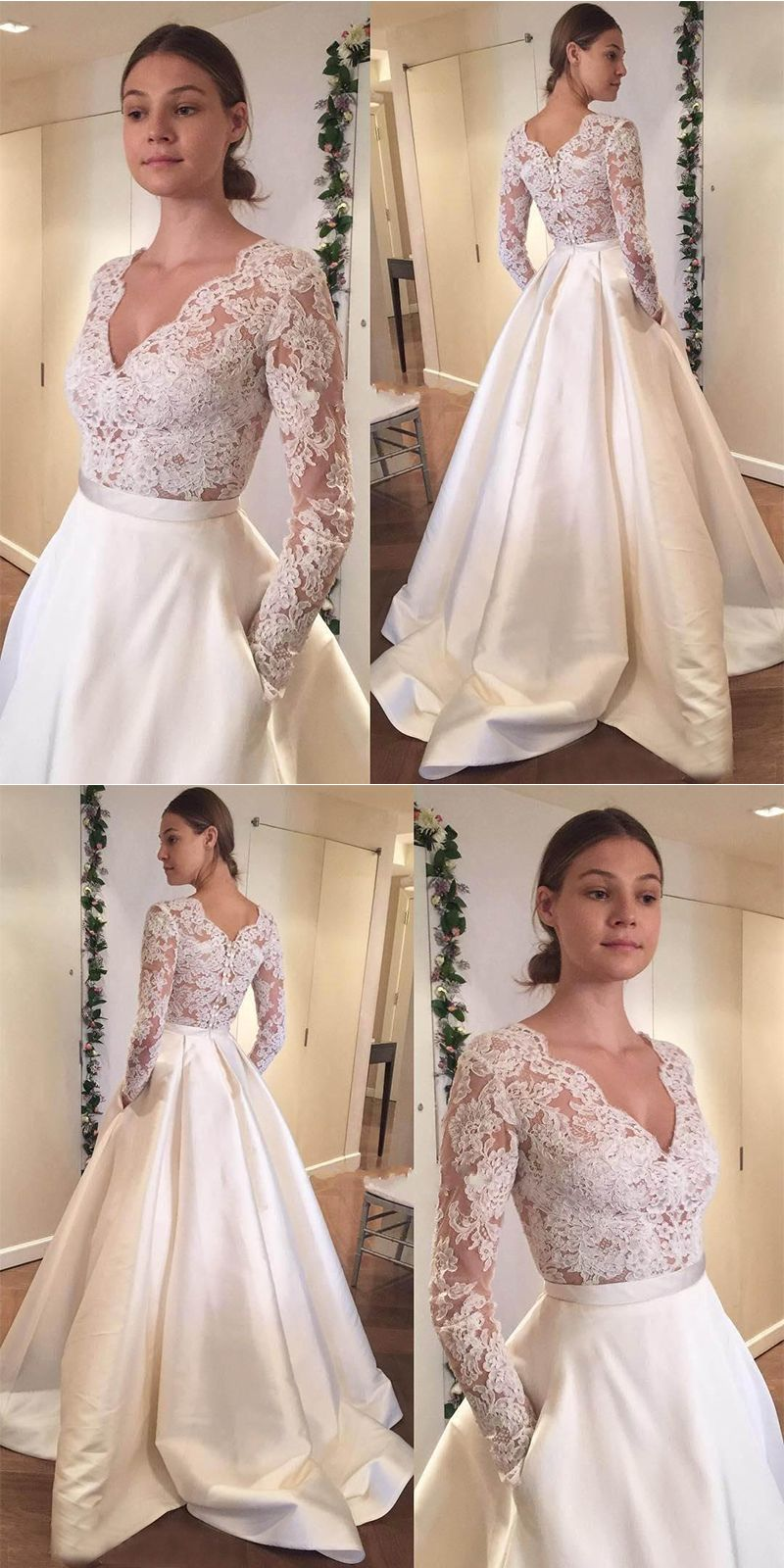 c054f81f277 A-Line V-Neck Long Sleeves Sweep Train Satin Wedding Dress with Lace ...