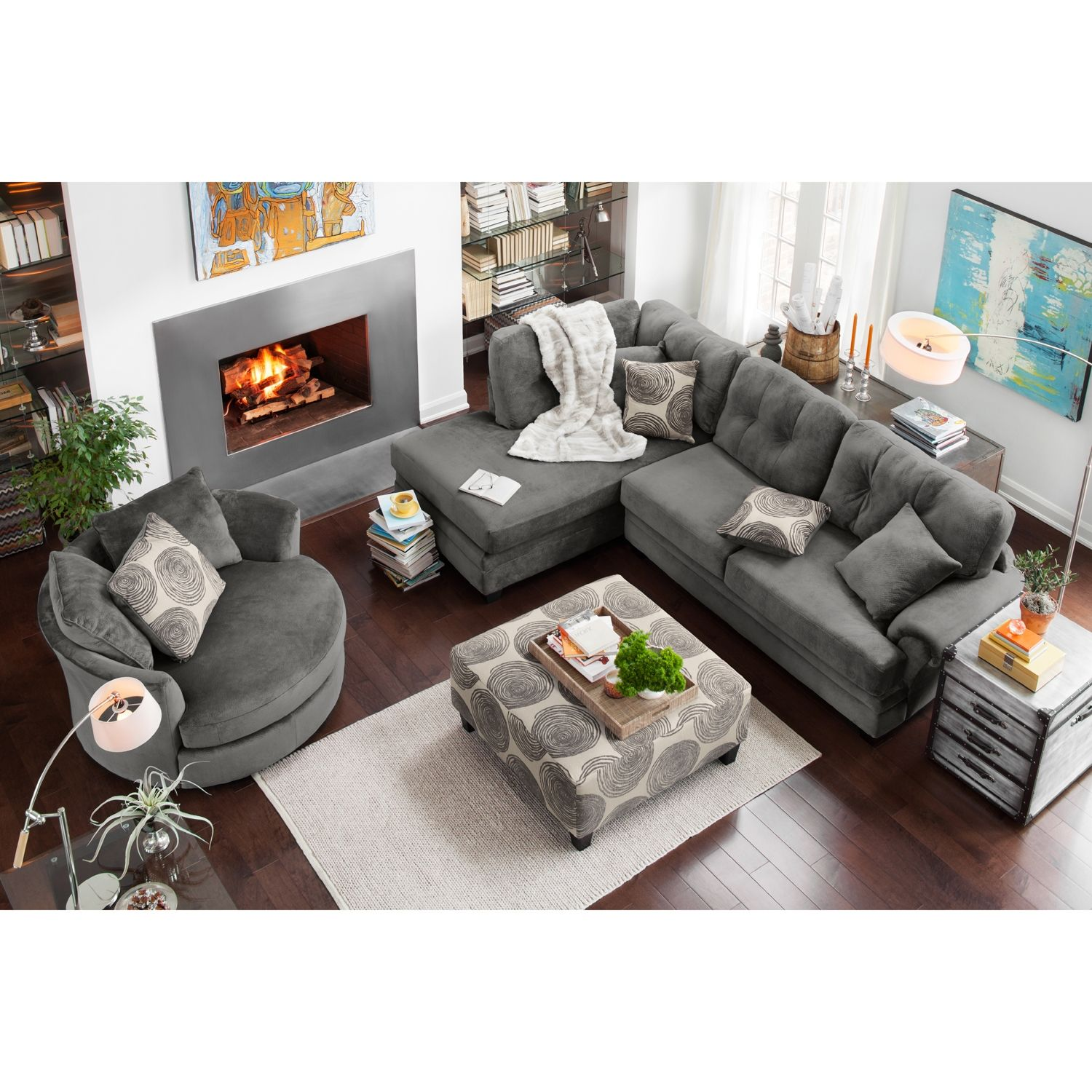 Living room furniture cordelle 2 piece left facing chaise sectional and swivel chair set gray