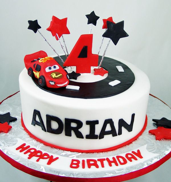 Fondant Car Topper Black And Red Birthday Cake Lightning Mcqueen Birthday Cake New Birthday Cake Red Birthday Cakes