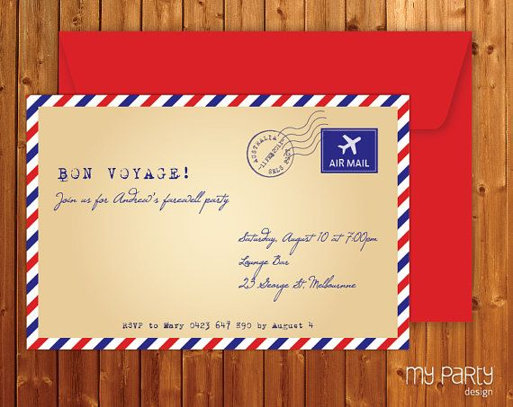 stationary Travel Farewell Party PRINTABLE Invitation, envelope - farewell invitation template
