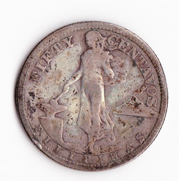 12 1907 Philippine Fifty Centavos Antique 75 Silver By