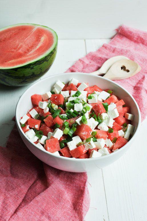 Melonen-Salat. Mit Feta und Frühlingszwiebeln.