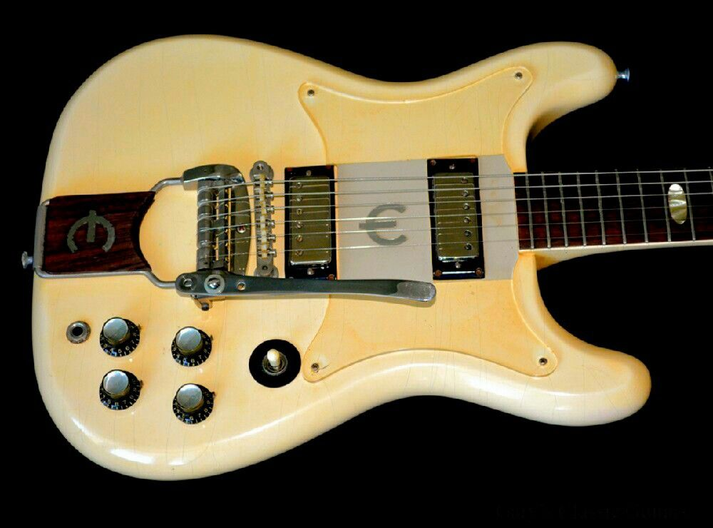1963 Epiphone Crestwood Polaris White Mahogany W Rosewood Fingerboard Clear Lucite E Foil Pickg Epiphone Epiphone Electric Guitar Beginner Electric Guitar