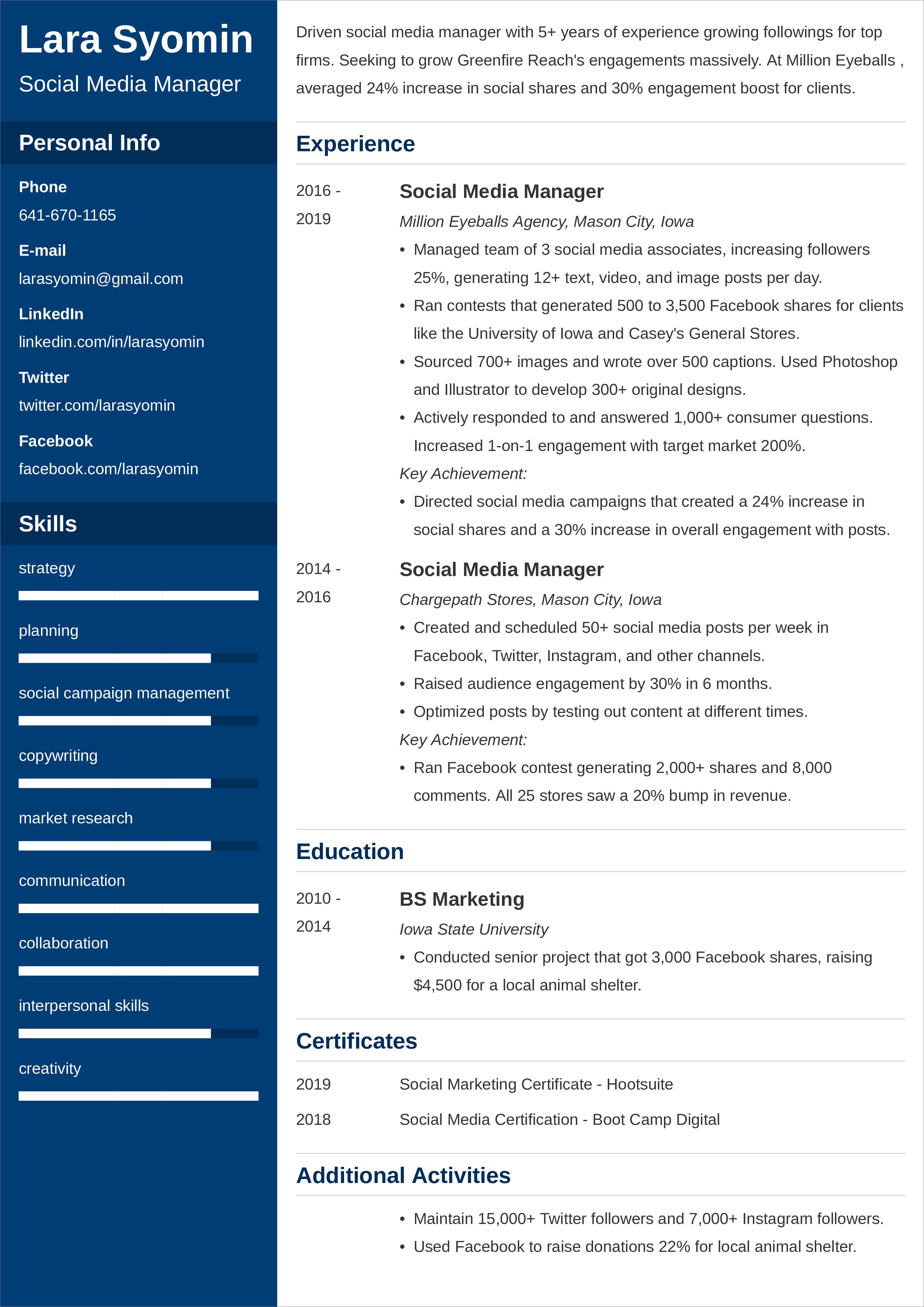 Social Media Manager Resume di 2020