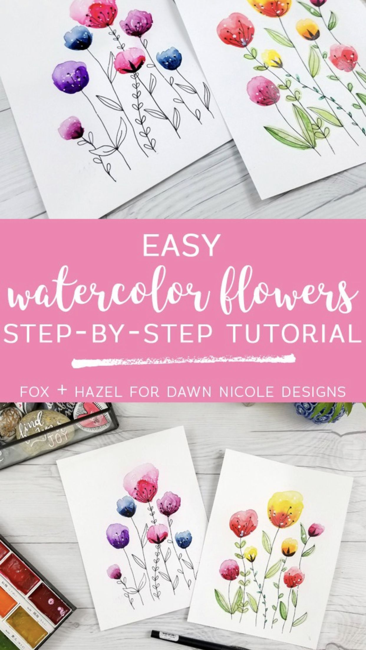 5 Free Easy Watercolor Tutorials Watercolor Art Watercolour