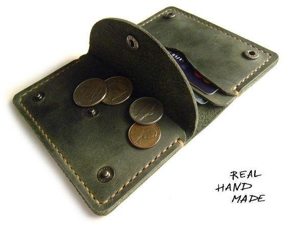 Men Women Leather Wallet Handmade Minimal Green Leather Wallet
