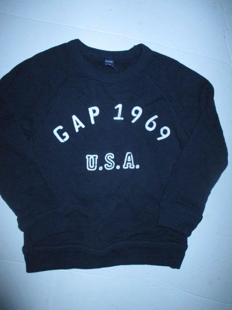 aa1c01c46f90 Baby GAP 1969 Navy Blue Terry Cotton Sweatshirt Pullover Top Boys 4T ...