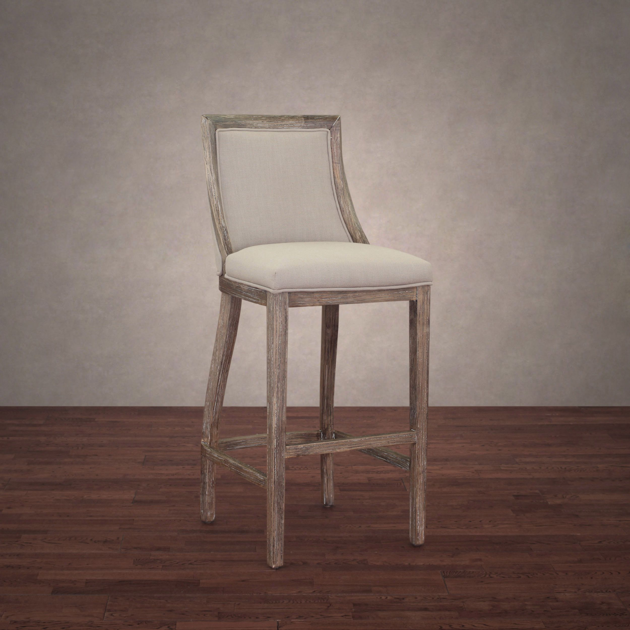 Enhance Your Home And Dining Decor With The Uniquely Styled Park Avenue Beige Linen Bar Stool