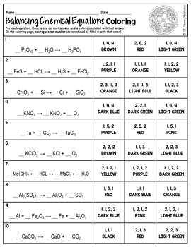 Balancing Chemical Equations Color By Number Winter Science