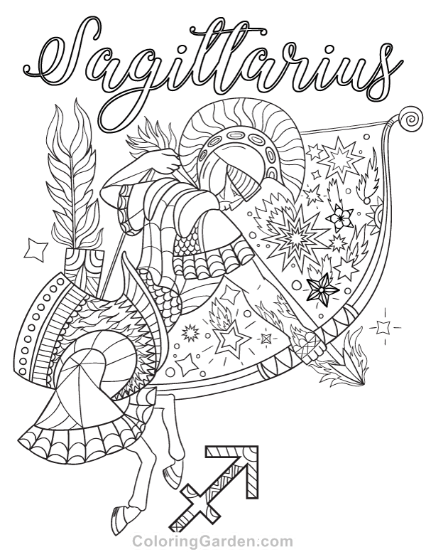 Free printable Sagittarius adult coloring page. Download it in PDF ...