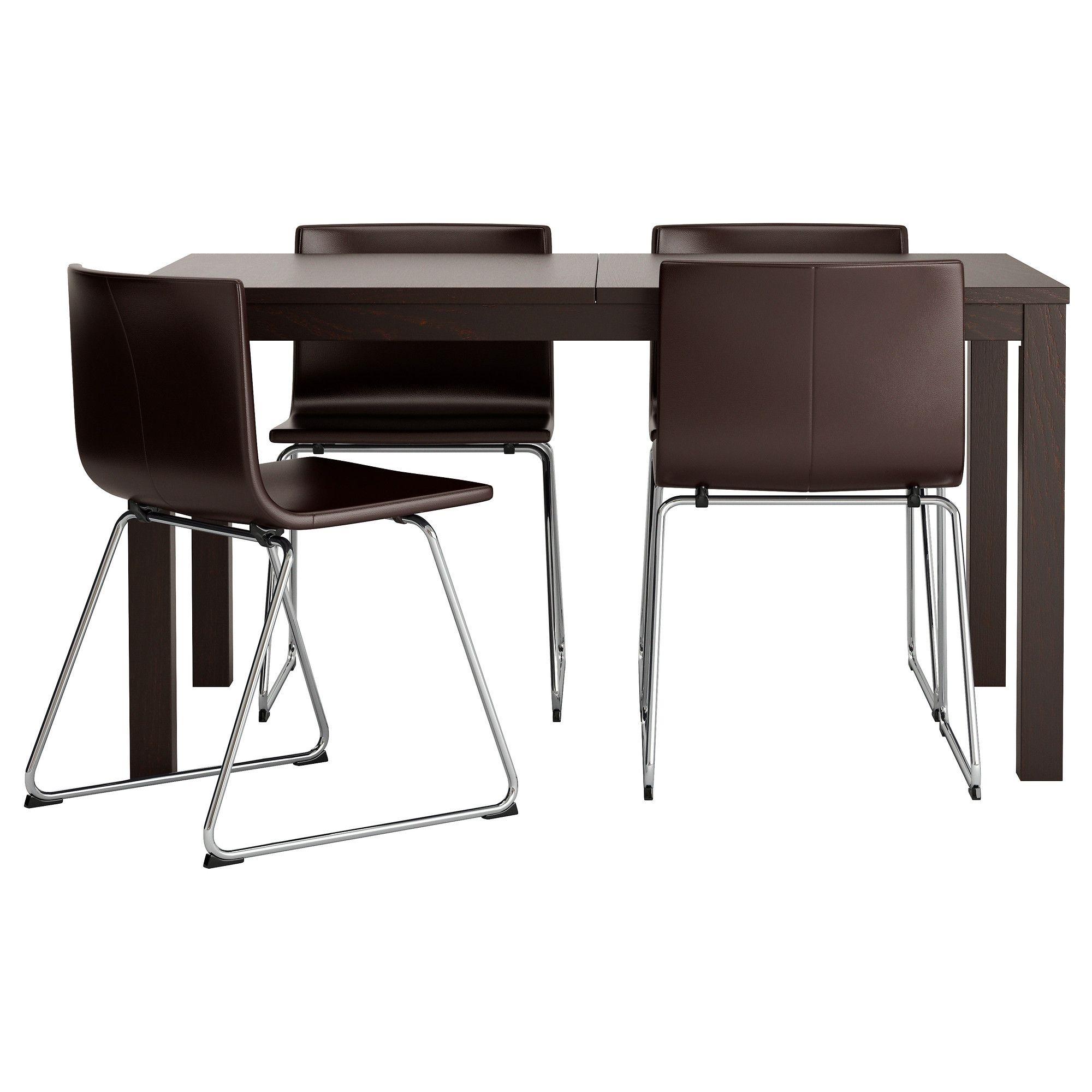 BJURSTA BERNHARD Mesa e 4 cadeiras castanho preto Kavat