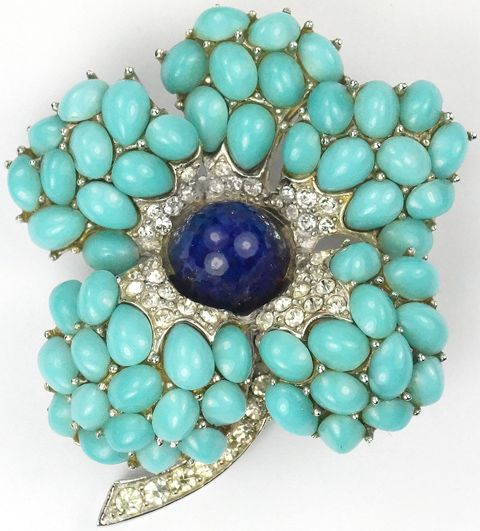 Boucher Pave Baguettes and Turquoise and Lapis Cabochons Flower Pin