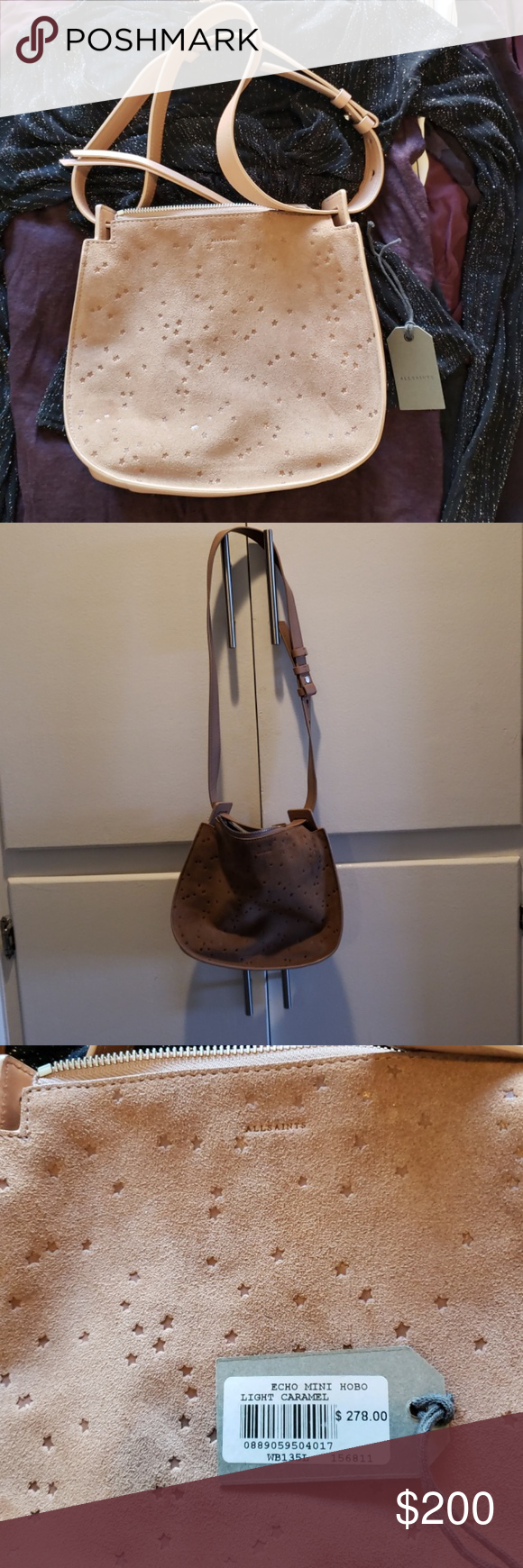 5f422971e6f SALE, ALL SAINTS echo STAR SUEDE PURSE Star design all over this beautiful  leather suede