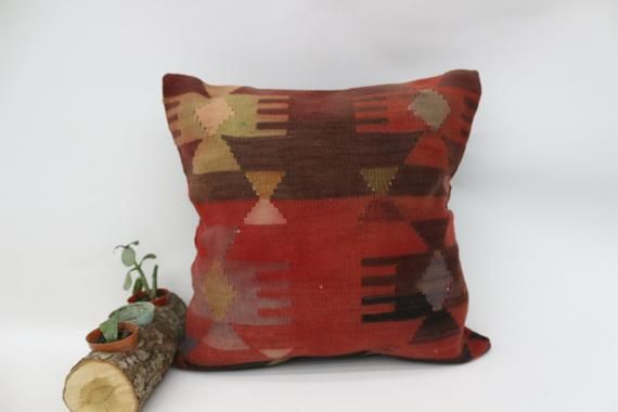 Geometric Pillow  16x16  Red Pillow,Turkey Pillow,Home Design Pillow,Rustic Pillow,Bedding Pillow, C