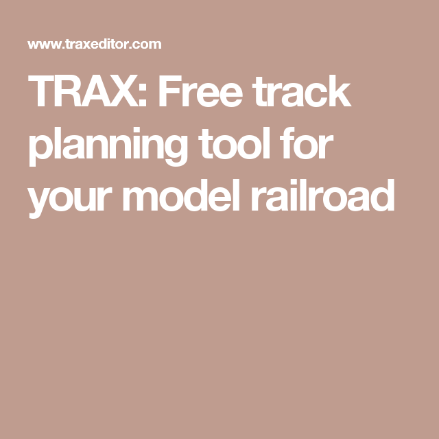 TRAX: Free track planning tool for your model railroad | H0e