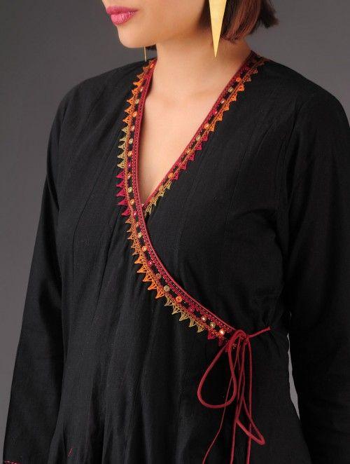 Black Hand Embroidered Cotton Kalidar Angarakha