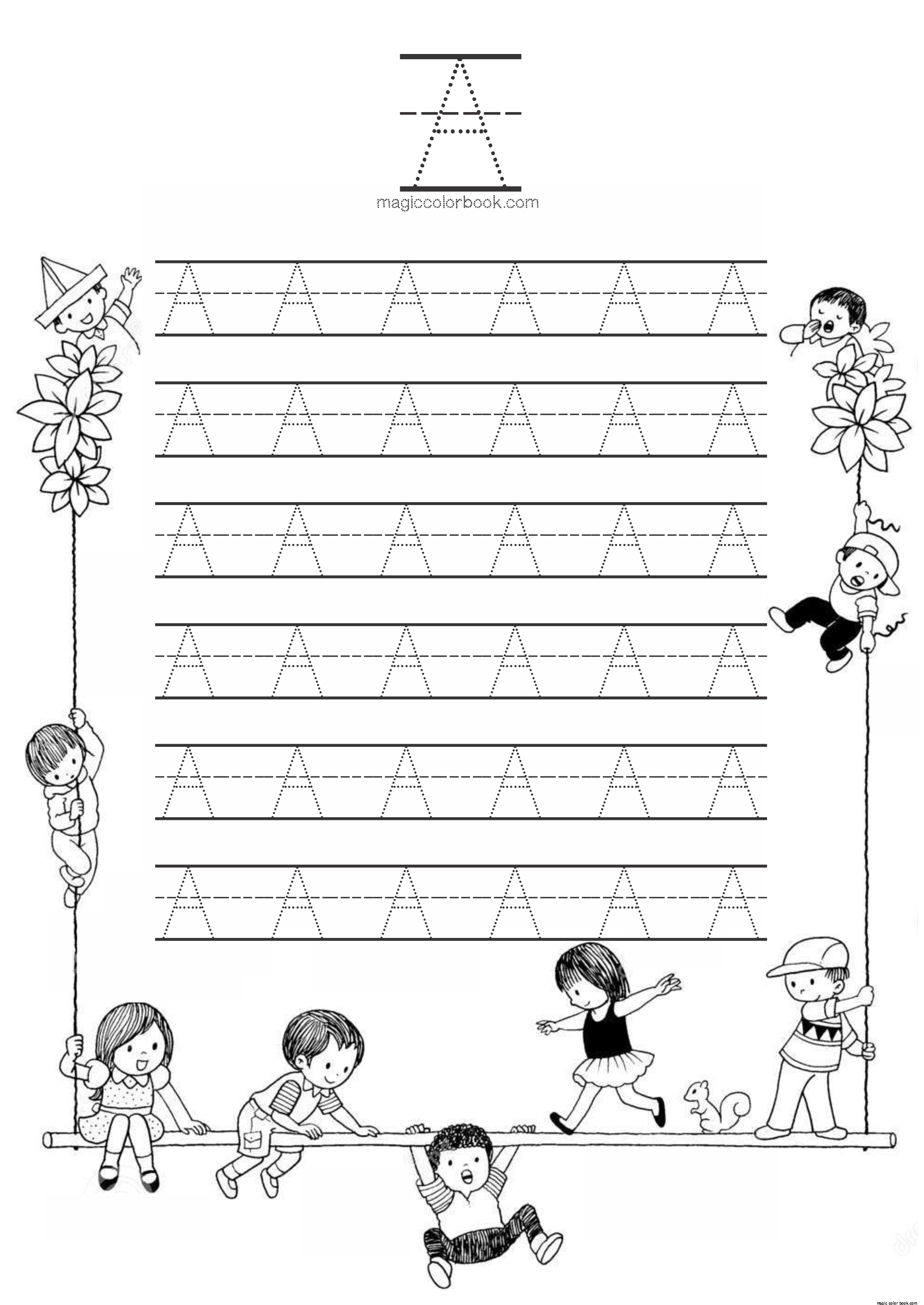 Alphabet A Coloring Pages Online Free Worksheets