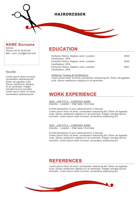 Resume For Hairstylist Sample Resumes For Hairstylist Cosmetologist  Hairdresser Resume