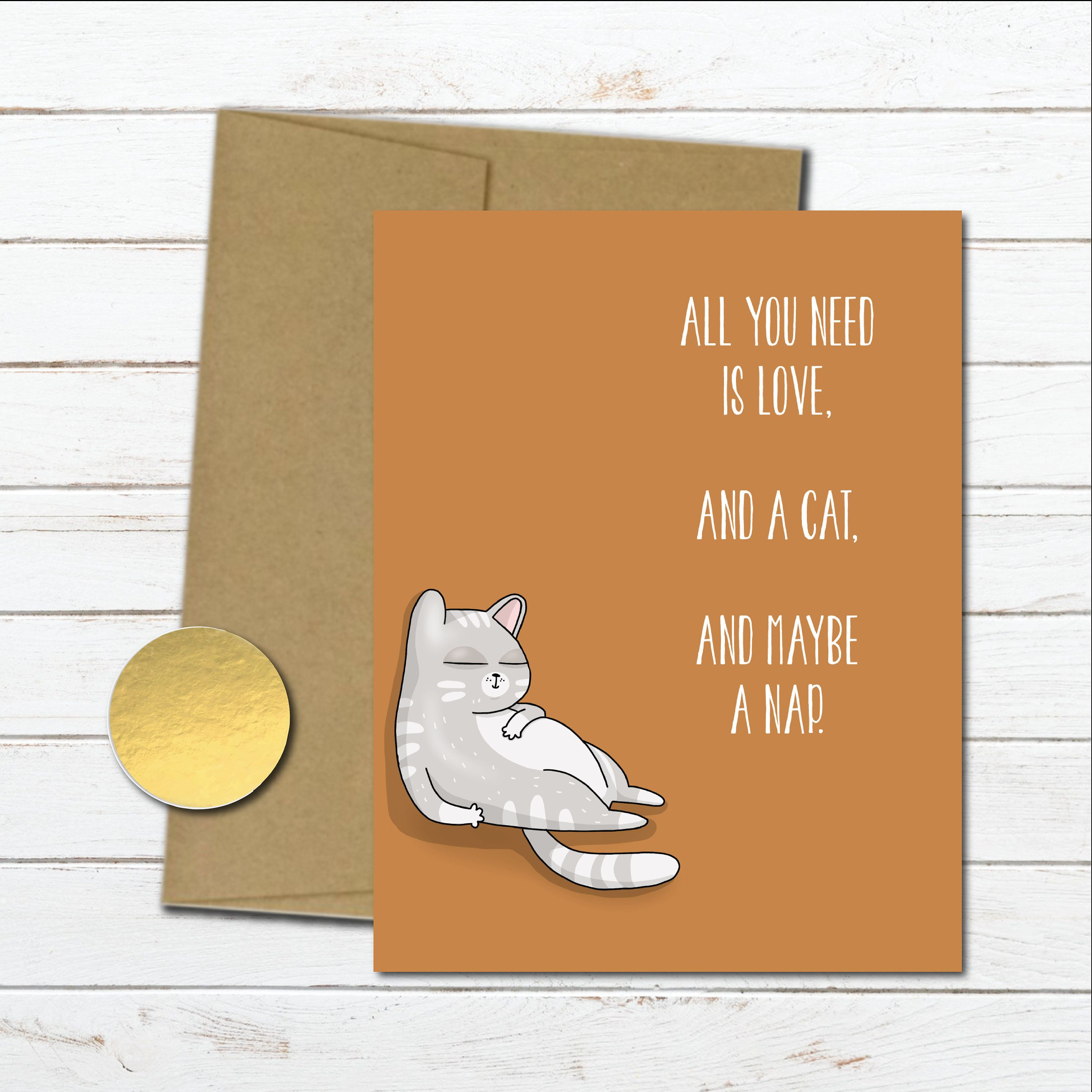 Lazy Cat Love Card For Him Anniversary Card For Boyfriend Husband Wife Couples Gift Cat Gif Cat Birthday Card Cat Birthday Cards Funny Funny Birthday Cards