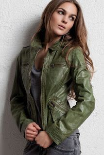 Want this green leather jacket