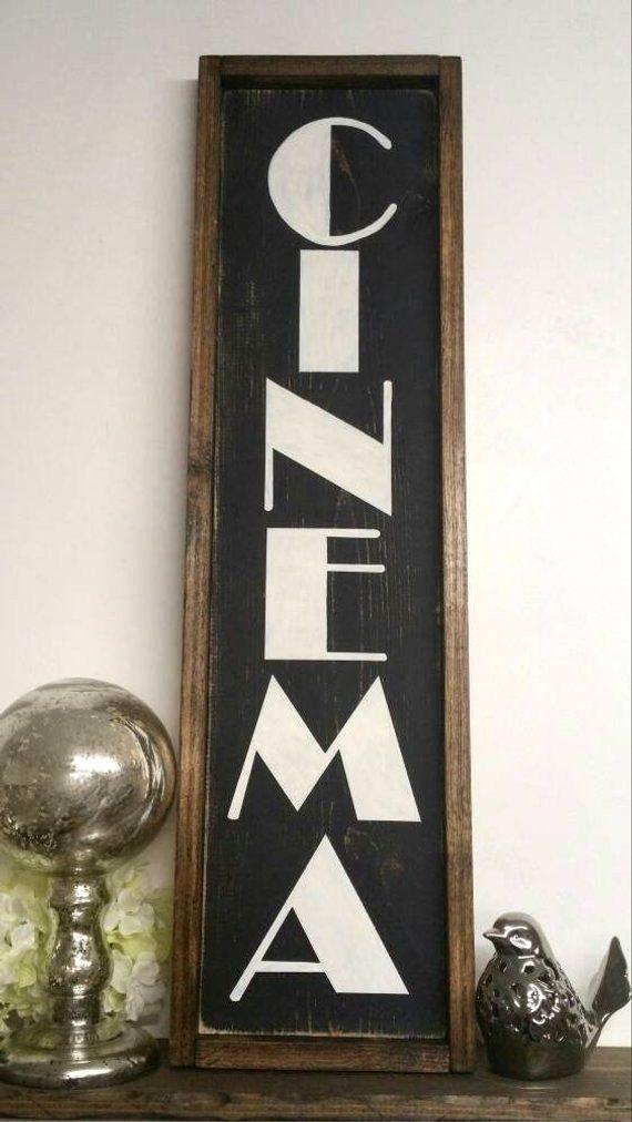 Cinema Sign, Theater sign, Movie Night, Home Theater Decor, Art Deco, Man Cave Decor, Cinema Decor, Media Room, Theatre Sign, 10″x32″