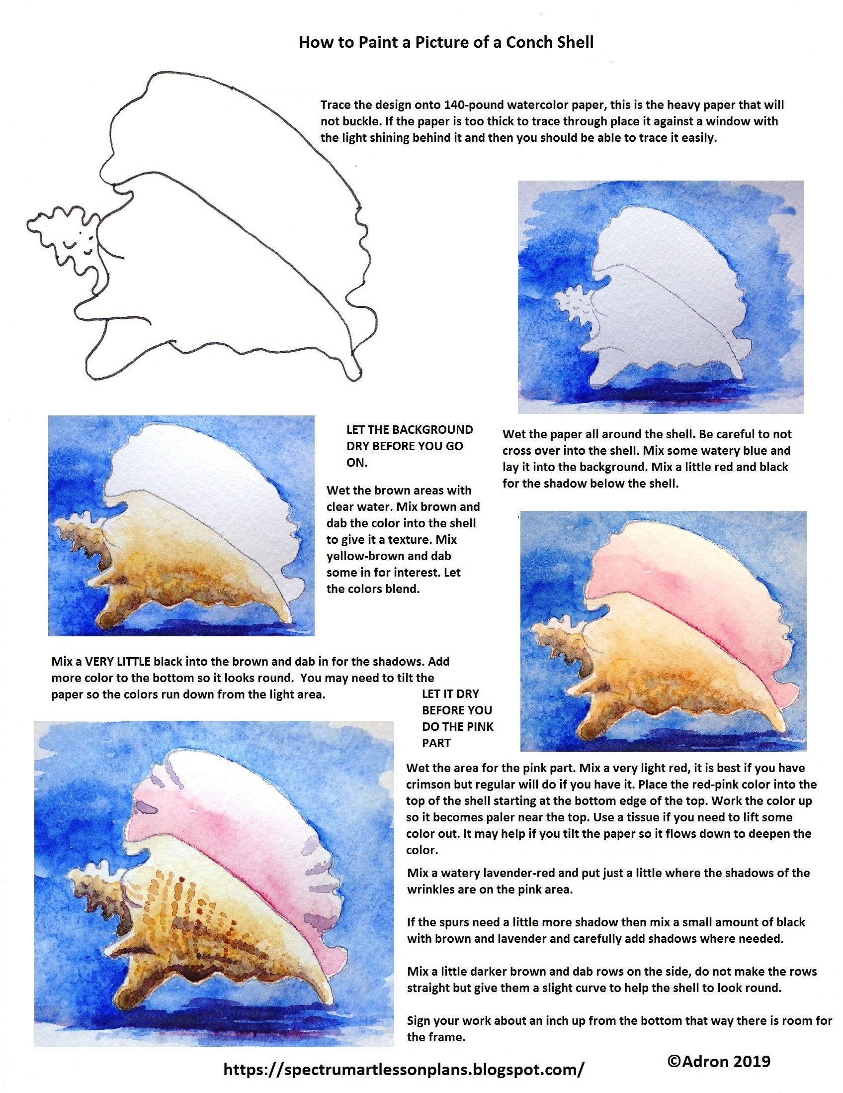 Conch Shell By Kim Ellington On Painting Tutorials Conch Shell