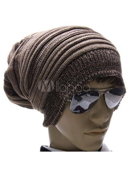 Brown Stripe Cotton Stylish Men\'s Beanie Hat